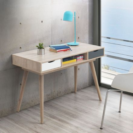 Alford 2 Drawer Desk Oak / Grey